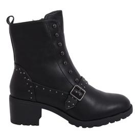 Schwarz Schwarze Stiefel mit hohen Absätzen 1003-1 Schwarz