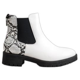 Erino Hohe Jodhpur-Stiefel mit Schlangenmuster weiß