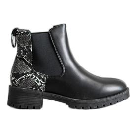 Erino Hohe Jodhpur-Stiefel mit Schlangenmuster schwarz