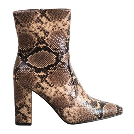 Seastar Snake-Print-Stiefel braun