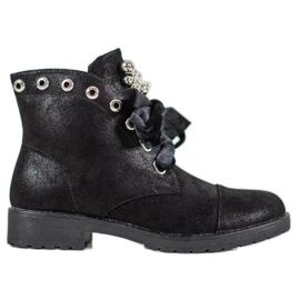 Bella Paris Stiefel Mit Einem Dekorativen Bogen schwarz