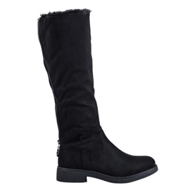 SHELOVET Warme Stiefel über dem Knie schwarz