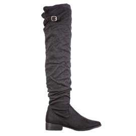 SHELOVET Stylische Stiefel über dem Knie schwarz