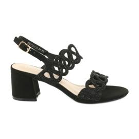 Schwarze Sandalen mit Zirkonia Filippo DS1355 / 20 BK