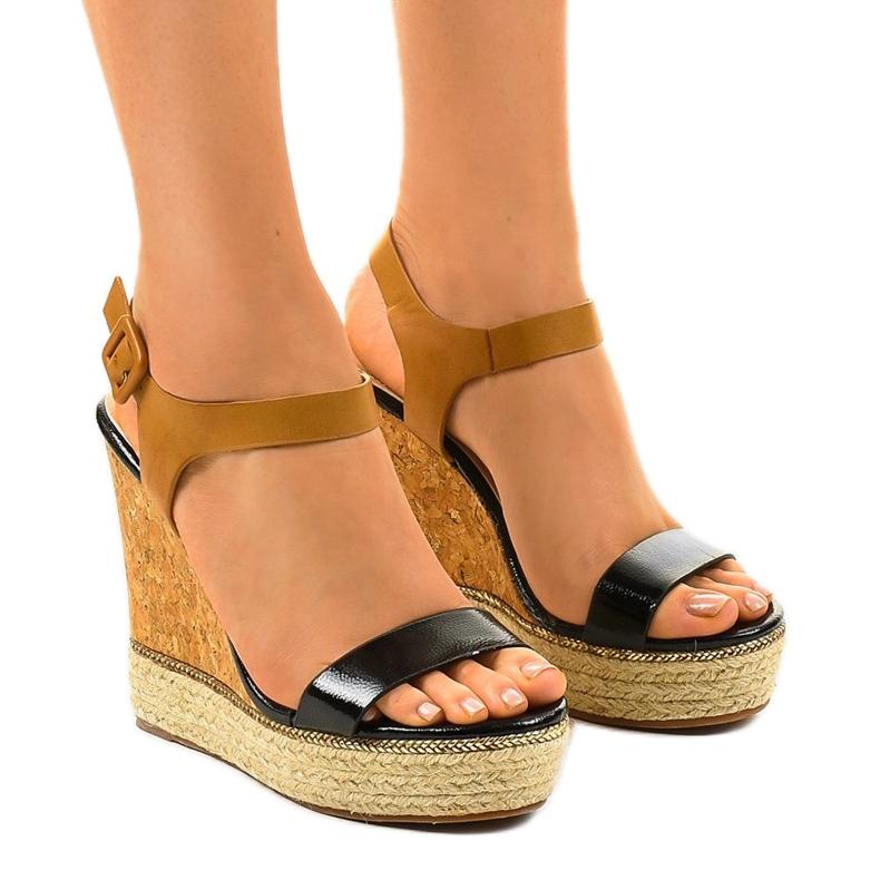 Schwarze Sandalen auf Espadrilles VB76063 Keilabsatz