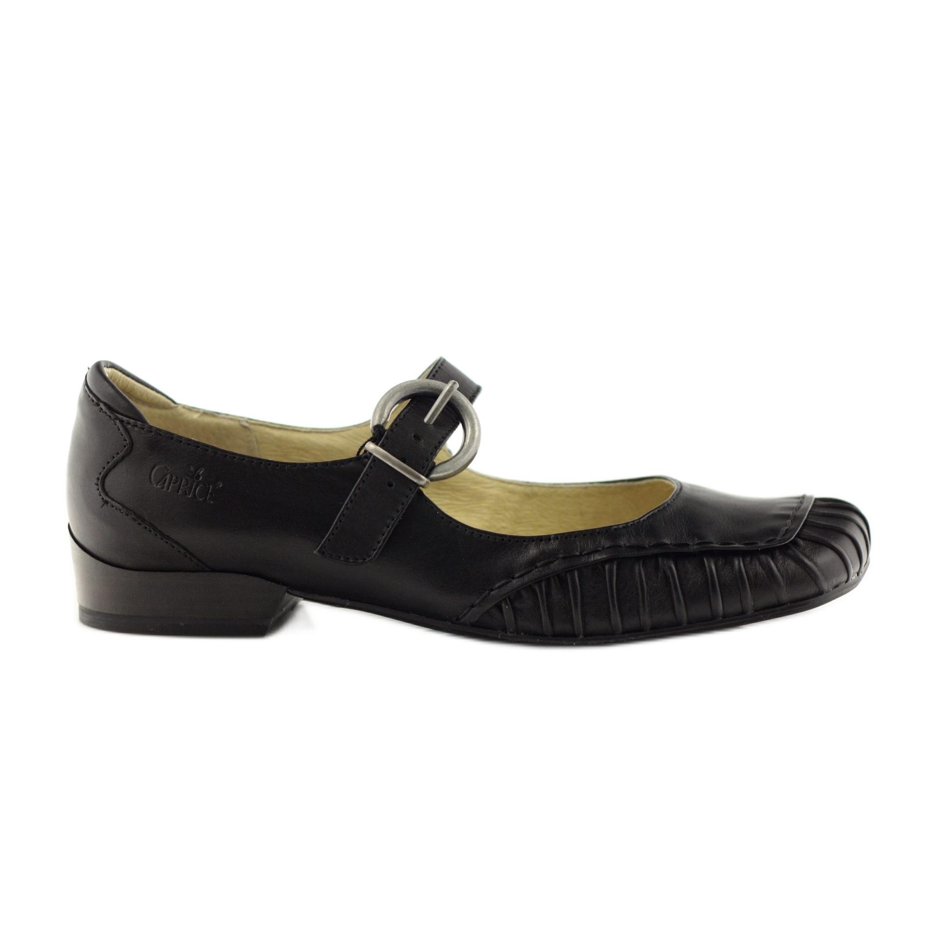 newest a37a5 20242 Schwarz Caprice Schuhe Leder Damenschuhe für Gurt 24206