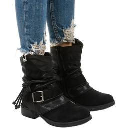 Schwarze Stiefeletten mit Schnalle und dekorativem Coord-Obermaterial