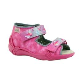 Hausschuhe Befado Sandalen Ledereinsatz pink 1