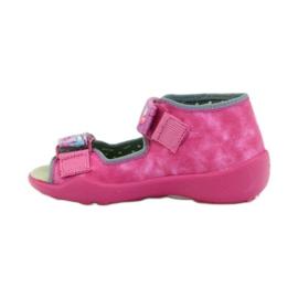 Hausschuhe Befado Sandalen Ledereinsatz pink 2