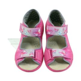 Hausschuhe Befado Sandalen Ledereinsatz pink 4