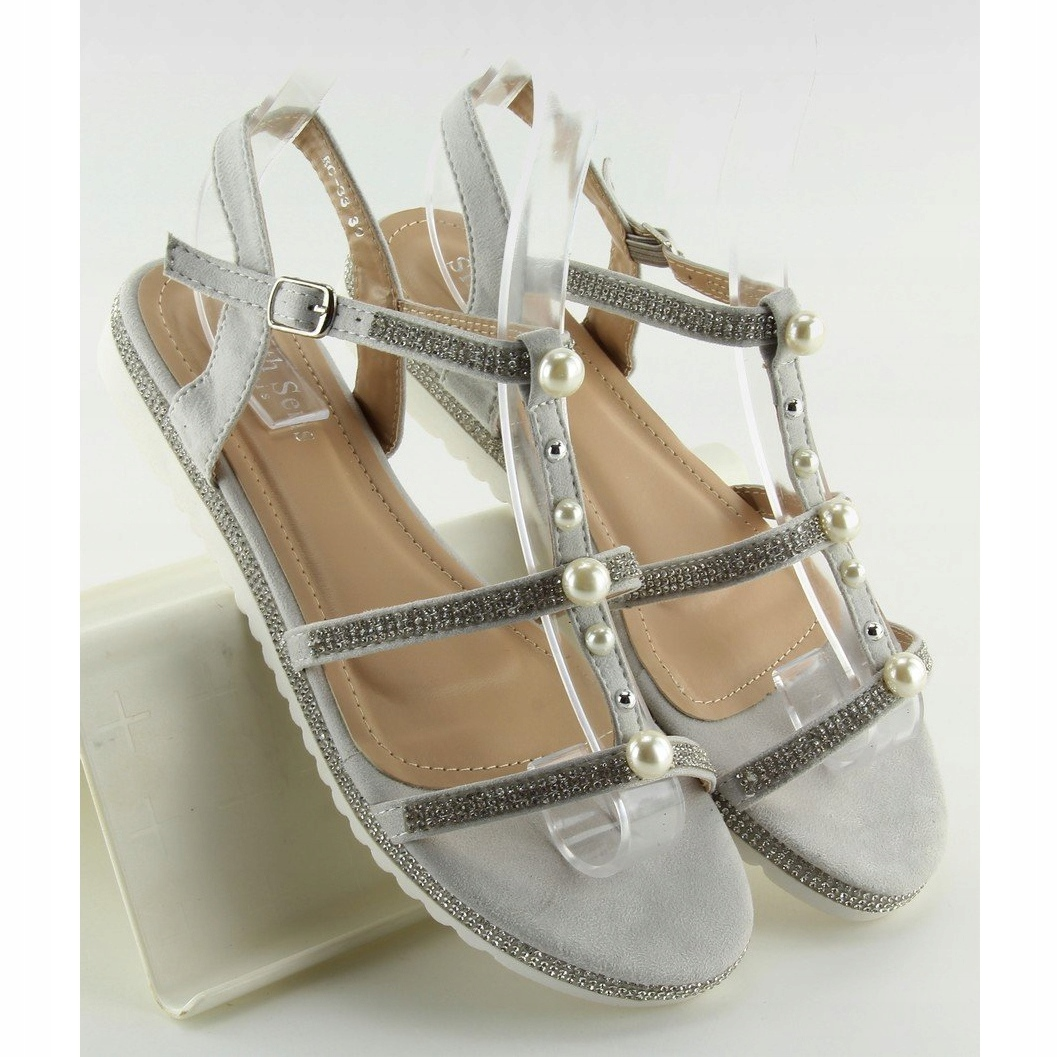 sandalen mit grauen perlen rc 33 grau  sandalen c 33 #11