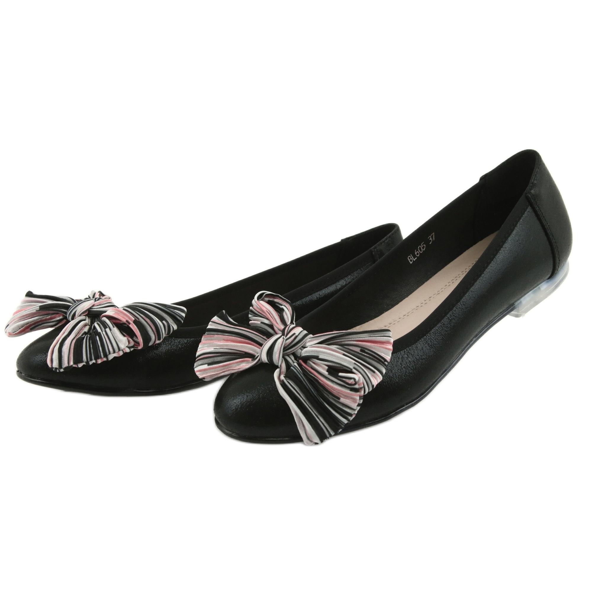 Schwarz Ballerina Damenschuhe mit Schleife Sergio Leone 605
