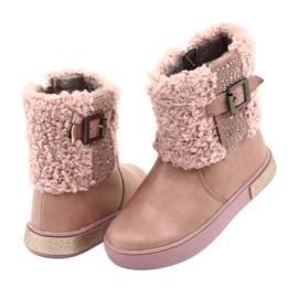 American Club Stiefel mit Fell am Reißverschluss pink 4