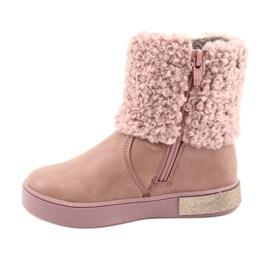 American Club Stiefel mit Fell am Reißverschluss pink 2
