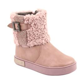 American Club Stiefel mit Fell am Reißverschluss pink 1