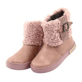 American Club Stiefel mit Fell am Reißverschluss pink 3