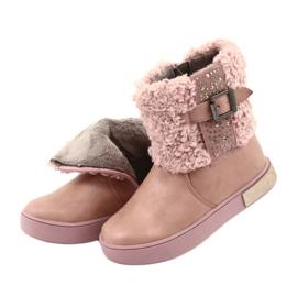 American Club Stiefel mit Fell am Reißverschluss pink 5