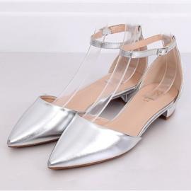 Ausgeschnittene Ballerinas Silber MM-795 Silber grau 3