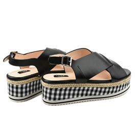 Schwarze Sandalen auf Plattform 1507-1 3