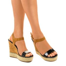 Schwarze Sandalen auf Espadrilles VB76063 Keilabsatz 1