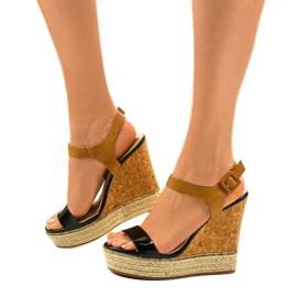 Schwarze Sandalen auf Espadrilles VB76063 Keilabsatz 2