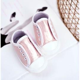 Apawwa Baby-Klett-Turnschuhe mit Glitzer-Taufe Rosa Milley pink 3