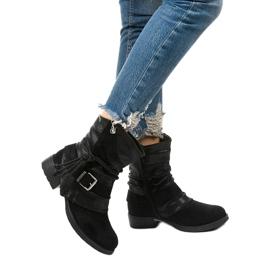 Schwarze Stiefeletten mit Schnalle und dekorativem Coord-Obermaterial 1