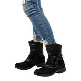 Schwarze Stiefeletten mit Schnalle und dekorativem Coord-Obermaterial 2