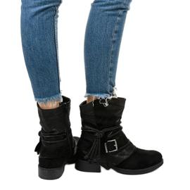 Schwarze Stiefeletten mit Schnalle und dekorativem Coord-Obermaterial 3