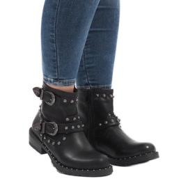 Schwarze Stiefel mit Verschlüssen und Pailletten A8018 1