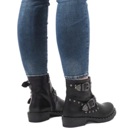 Schwarze Stiefel mit Verschlüssen und Pailletten A8018 2