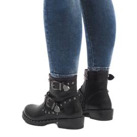 Schwarze Stiefel mit Verschlüssen und Pailletten A8018 3