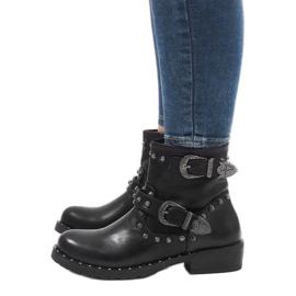 Schwarze Stiefel mit Verschlüssen und Pailletten A8018 4