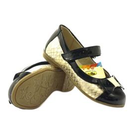 Ren But Ballerinas aus schwarzem und goldenem Leder Ren 3