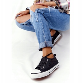 FB2 Schwarze Spitzen Candice Sneakers für Damen 5