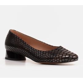 Marco Shoes Ballerinas aus Schlangenleder mit rundem Absatz schwarz 1