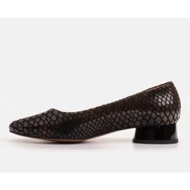 Marco Shoes Ballerinas aus Schlangenleder mit rundem Absatz schwarz 2