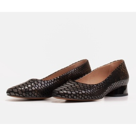 Marco Shoes Ballerinas aus Schlangenleder mit rundem Absatz schwarz 3