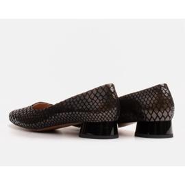 Marco Shoes Ballerinas aus Schlangenleder mit rundem Absatz schwarz 4