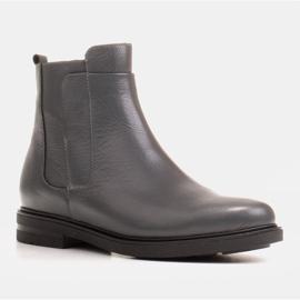 Marco Shoes Leichte Stiefel mit flachem Boden aus Naturleder isoliert grau 1