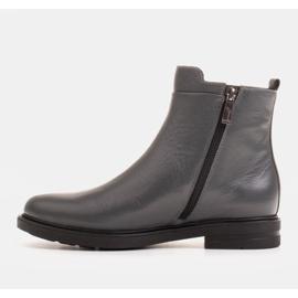 Marco Shoes Leichte Stiefel mit flachem Boden aus Naturleder isoliert grau 2