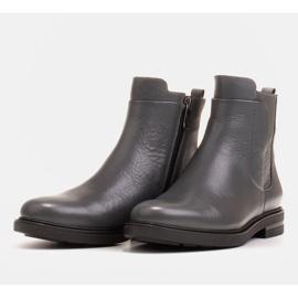 Marco Shoes Leichte Stiefel mit flachem Boden aus Naturleder isoliert grau 3