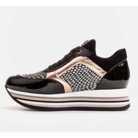 Marco Shoes Leichte Sneaker auf dicker Sohle aus Naturleder schwarz 3