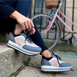 Marco Shoes Leichte Sneaker auf dicker Sohle aus Naturleder grau 8