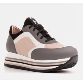 Marco Shoes Leichte Sneaker auf dicker Sohle aus Naturleder grau 1