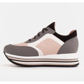 Marco Shoes Leichte Sneaker auf dicker Sohle aus Naturleder grau 3