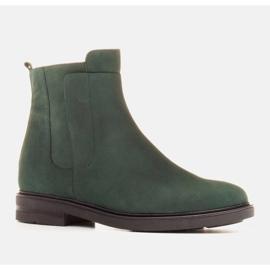 Marco Shoes Leichte Stiefel mit flachem Boden aus Naturleder isoliert grün 1
