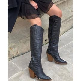 Marco Shoes Hohe Stiefel für Damen Cowboystiefel, Krokomuster schwarz 8