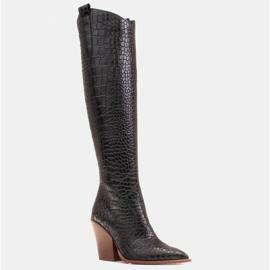 Marco Shoes Hohe Stiefel für Damen Cowboystiefel, Krokomuster schwarz 1