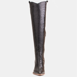 Marco Shoes Hohe Stiefel für Damen Cowboystiefel, Krokomuster schwarz 2